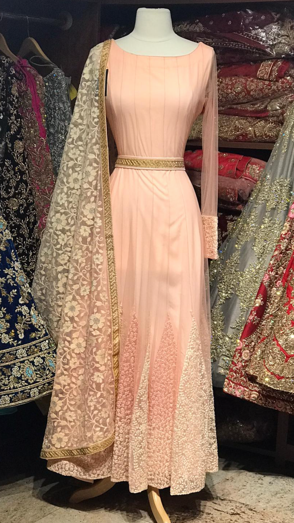 Peach Size 38 Anarkali