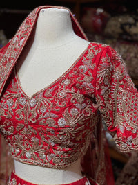 Bright Red Raw Silk Size 40 Bridal Lehenga