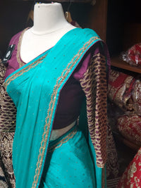 Turquoise Green Georgette Saree W/ Readymade Blouse PWS-029