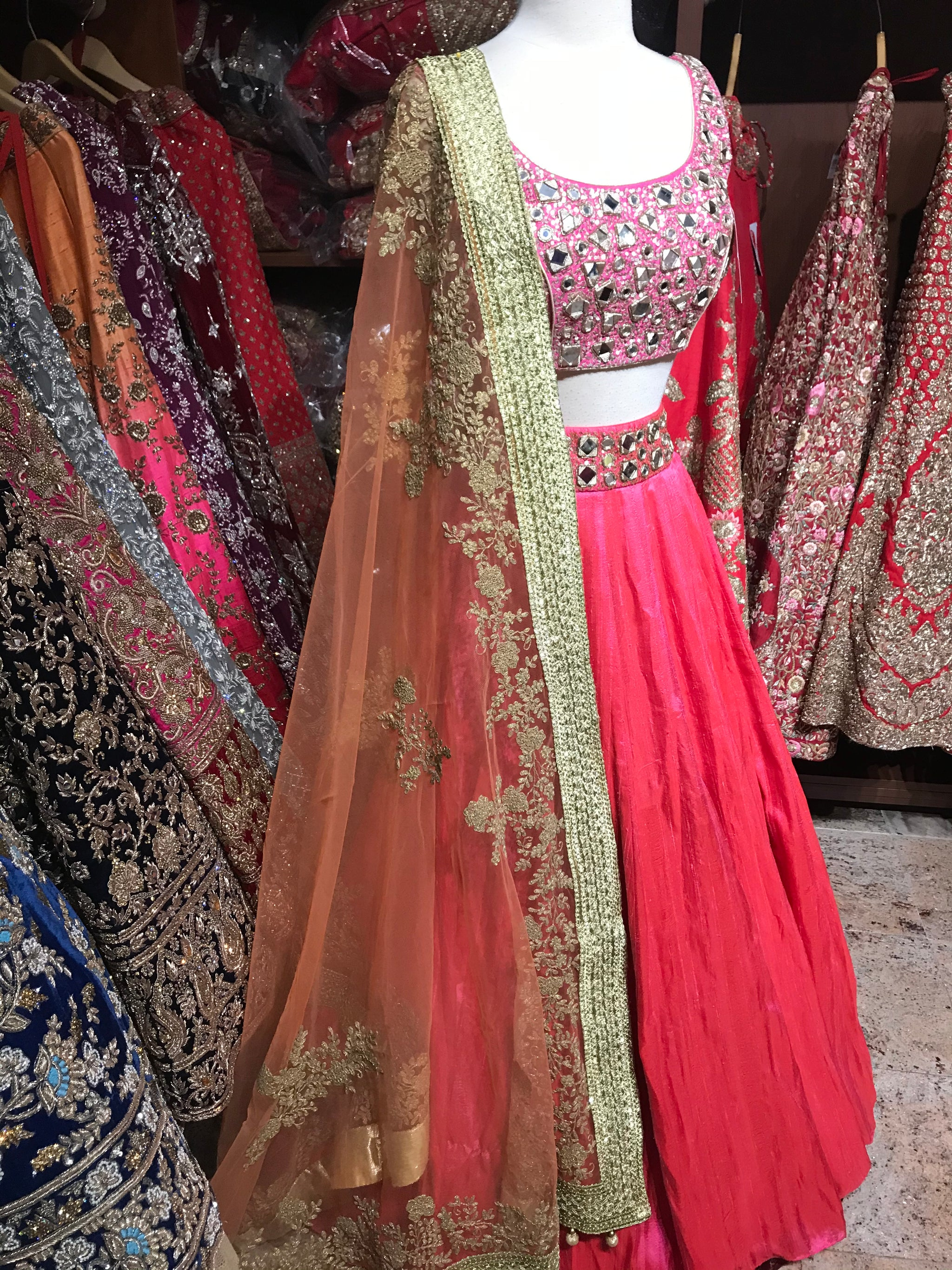 Pink Orange Size 36 Lehenga