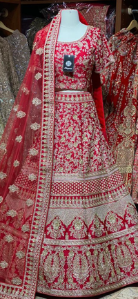 Bright Red Bridal Wear Lehenga BWL-065