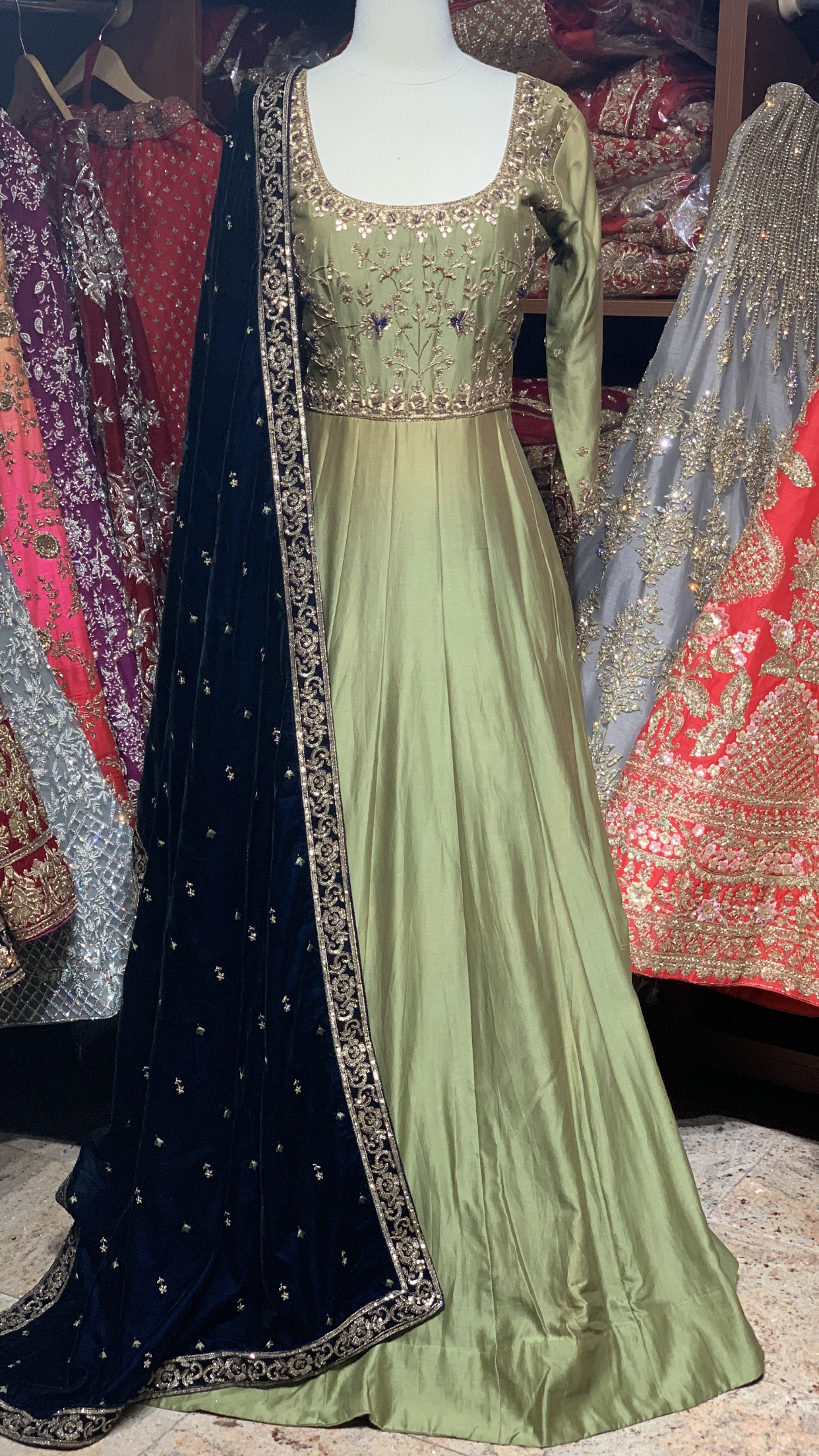 Green Navy Size 38 Anarkali