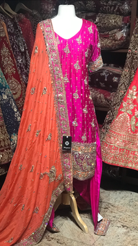 Pink Orange Size 38 Punjabi Suit