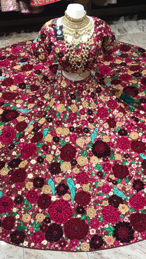 Custom Made Floral Embroidery Lehenga