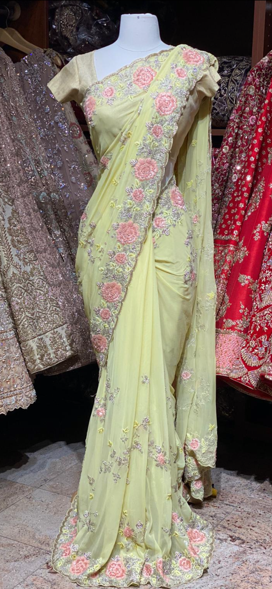 Lemon Yellow Georgette Saree PWS-26