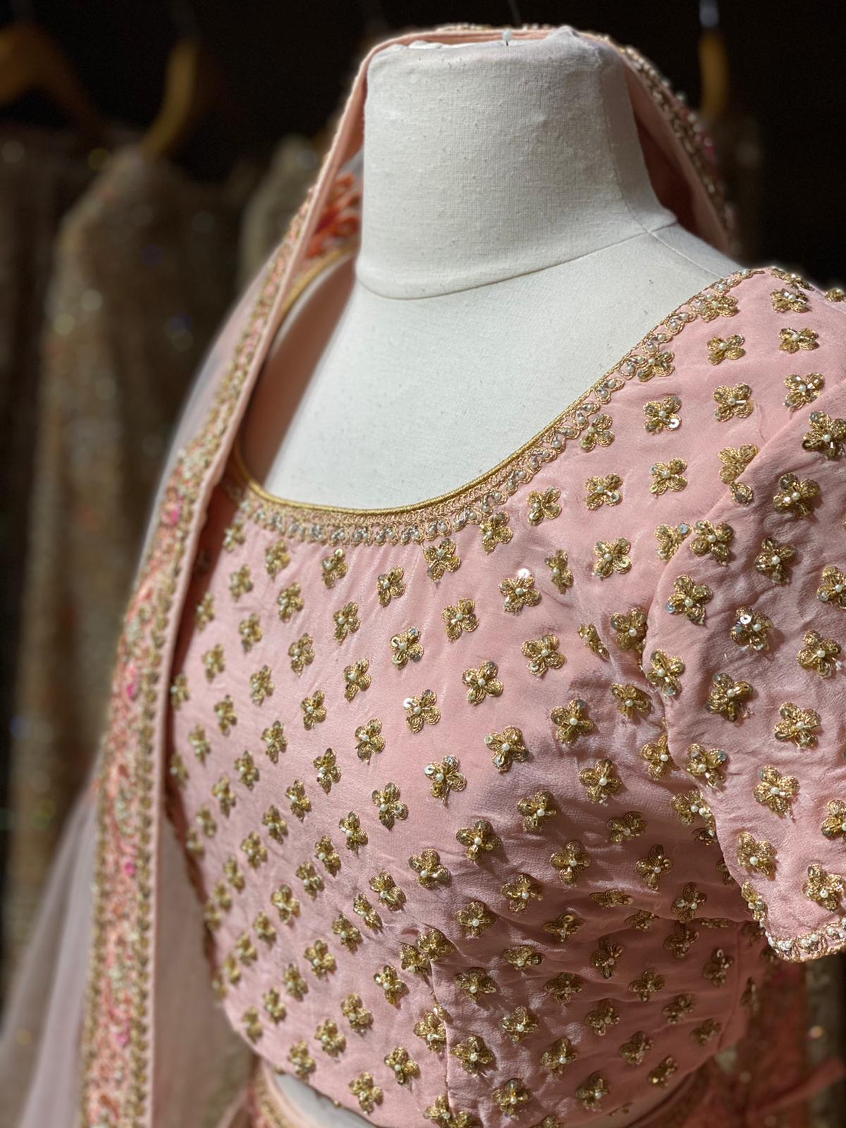 Peach Bridal Wear Lehenga BWL-026