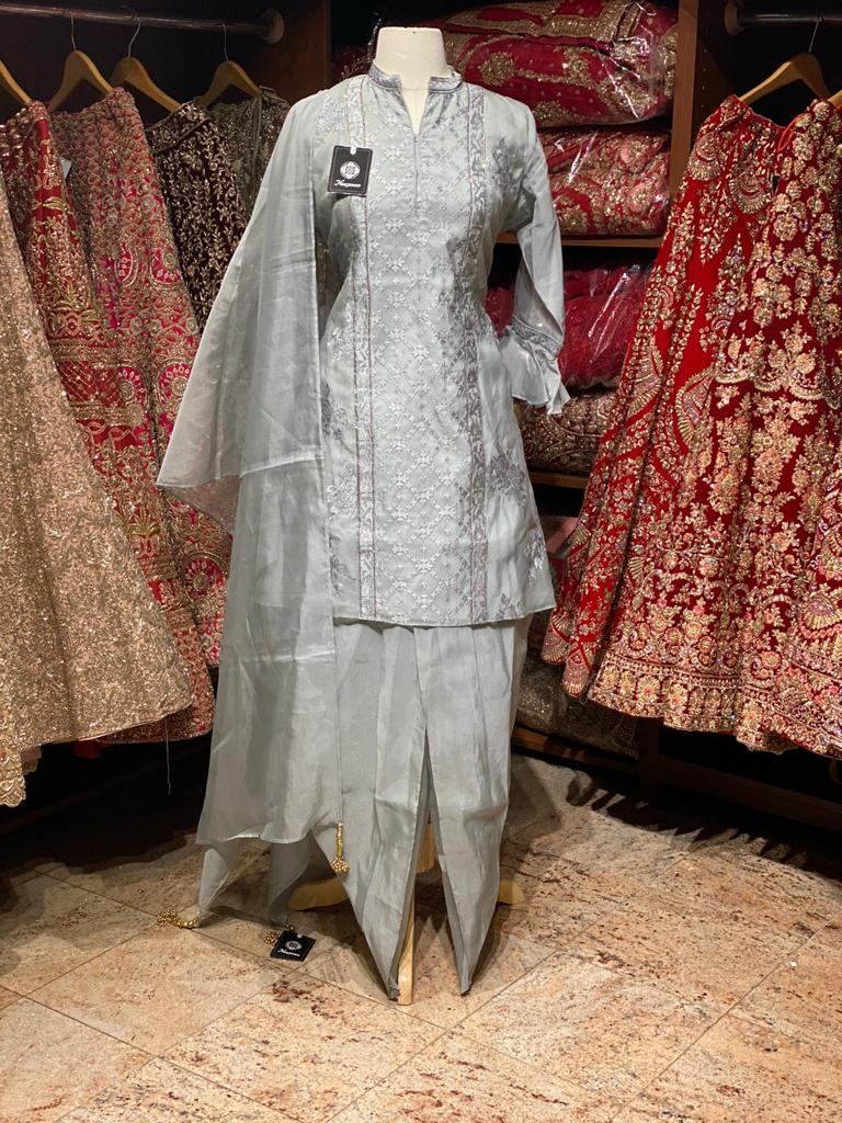 Shiny Silver and Grey Dhoti Party Wear Suit Collection PWS-043