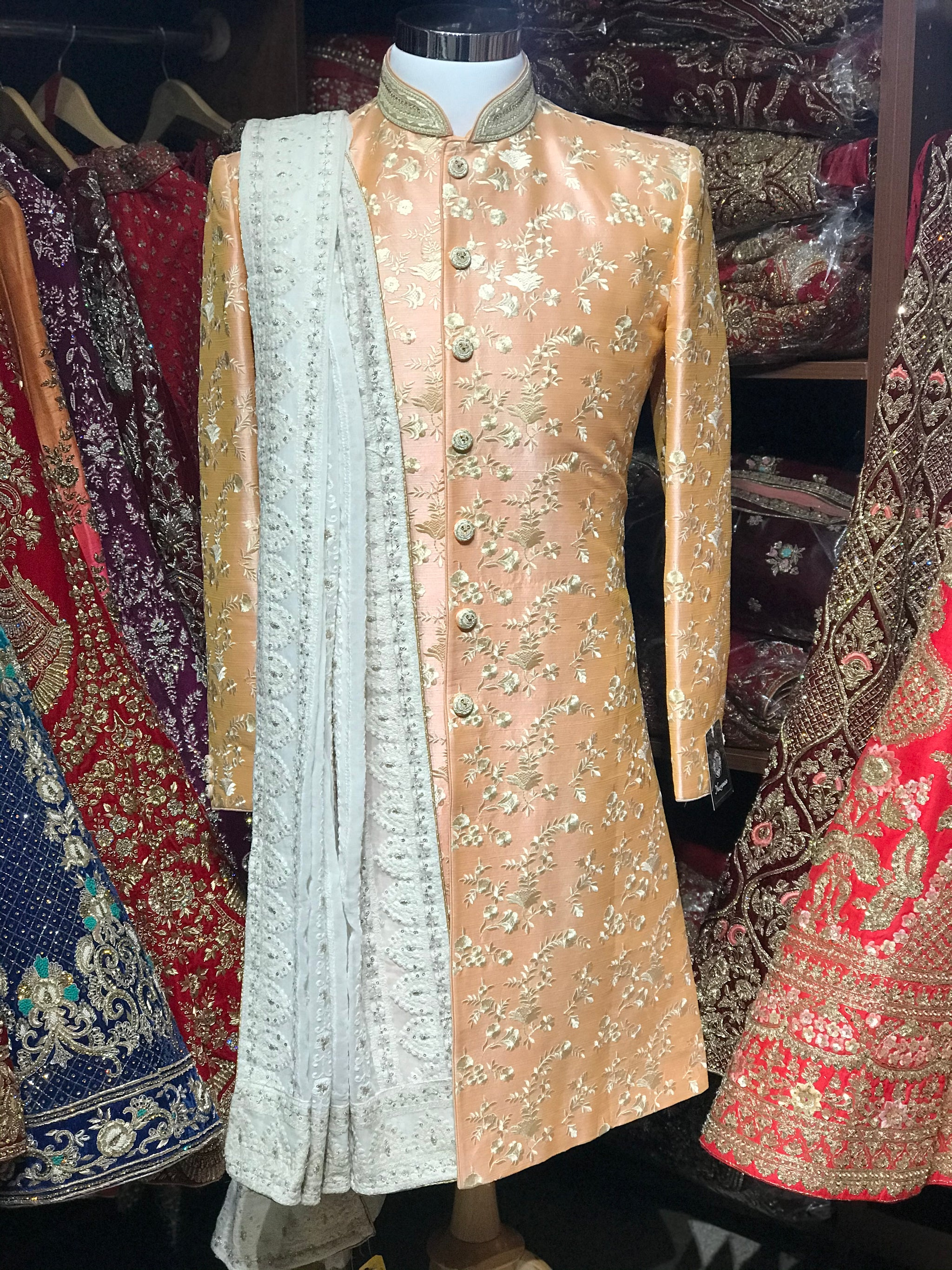Peach Raw Silk Sherwani
