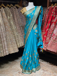 Maya Blue Blended Crepe Saree PWS -023