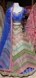 Royal Blue and Multicolor Party Wear Lehenga PWL-030