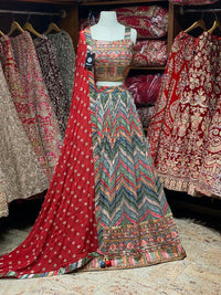 Grey Multicolor Stripes Party Wear Lehenga PWL-096