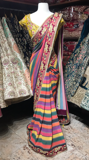 Multi-Color Stripe Saree