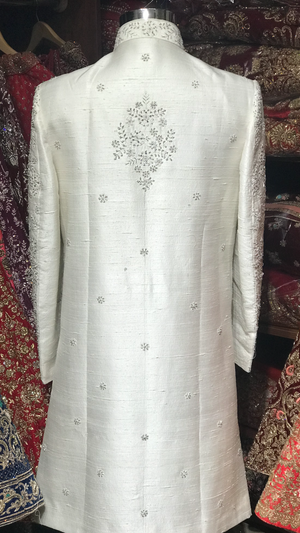 White Floral Embroidery Sherwani