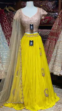 Yellow Blush Size 40 Georgette Lehenga