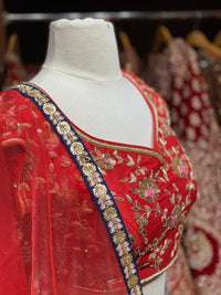 Blue & Red Party Wear Lehenga PWL-112