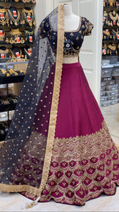 Navy Purple Size 38 Silk Lehenga