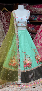 Mint Green Digital Print Party Wear Lehenga PWL-101