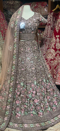 Walnut Brown Velvet Size 38 Bridal Wear Lehenga