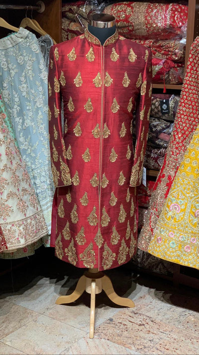 Red Raw Silk Size 40 Sherwani