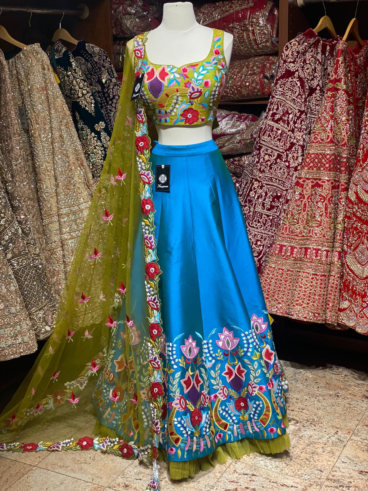 Azure Blue Party Wear Lehenga PWL-065