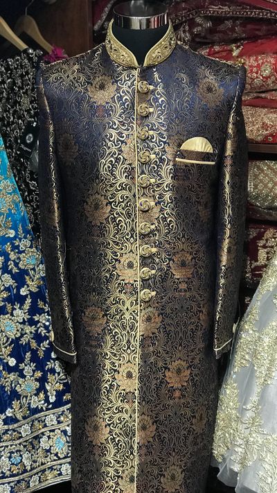 Navy Brocade Sherwani W/Gold Accents
