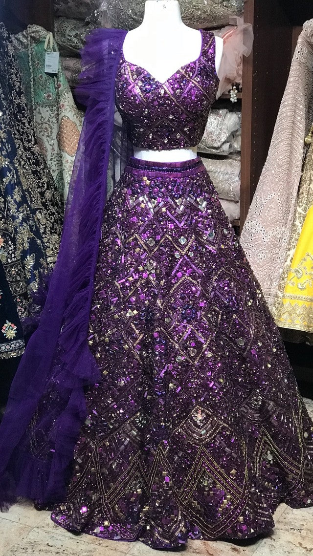 Purple Custom Made Ruffle Lehenga