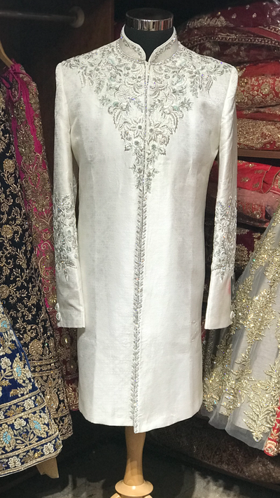 White Sherwani with Mint Accents