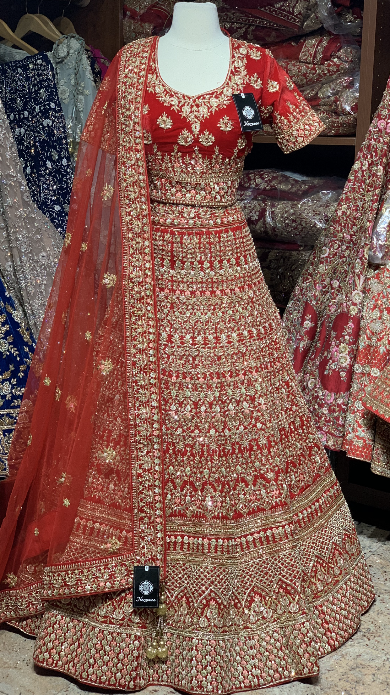 Red Velvet Size 38 Bridal Lehenga