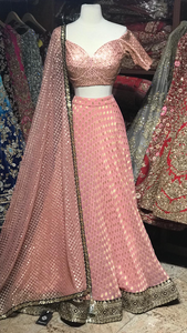 Pink Size 38 Off Shoulder Blouse Lehenga