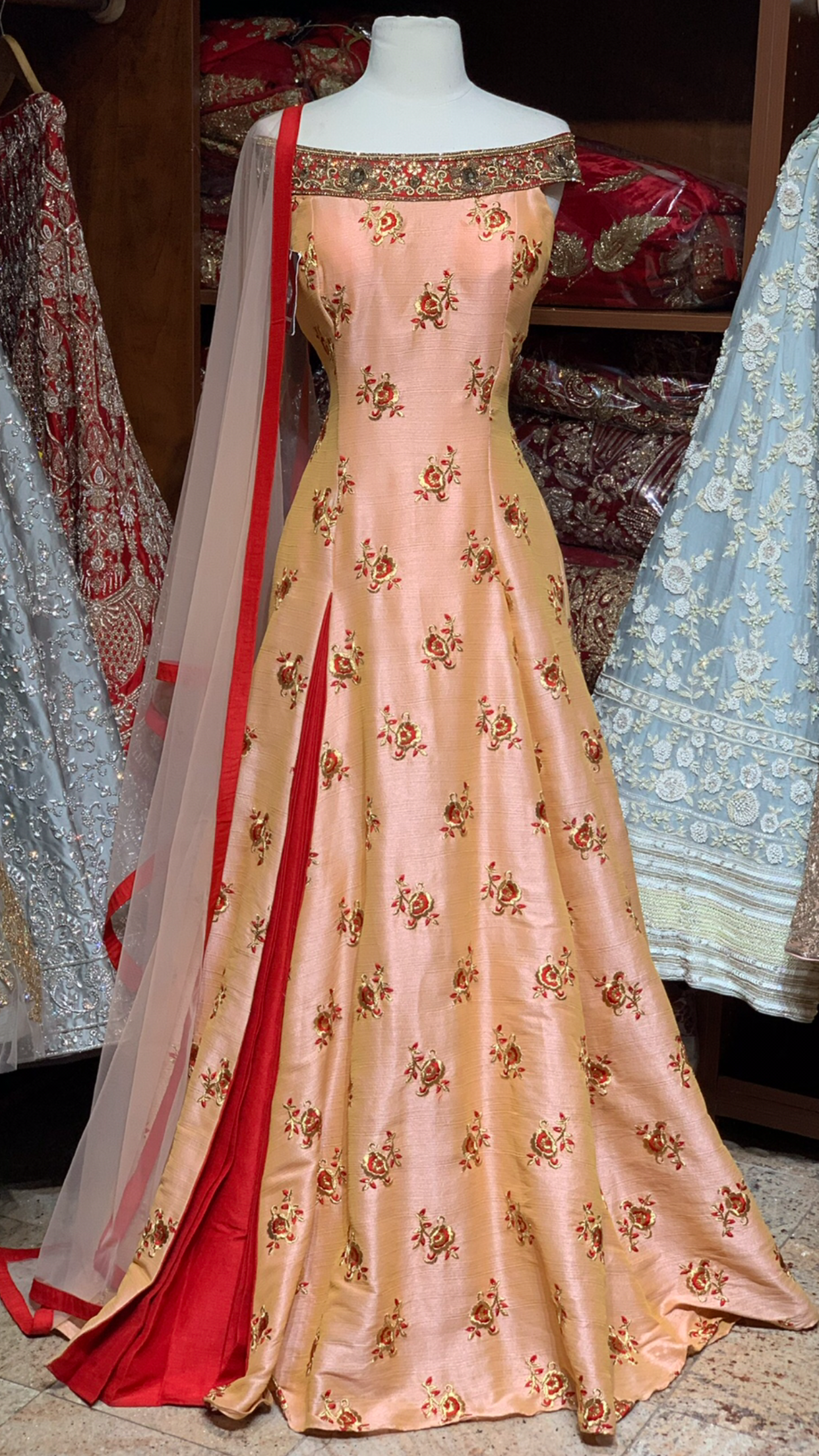 Peach Red Size 38 Off Shoulder Anarkali