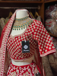 Coral Red Velvet Bridal Wear Lehenga BWL-036