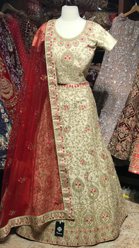 Gold Red Size 40 Embroidery Lehenga