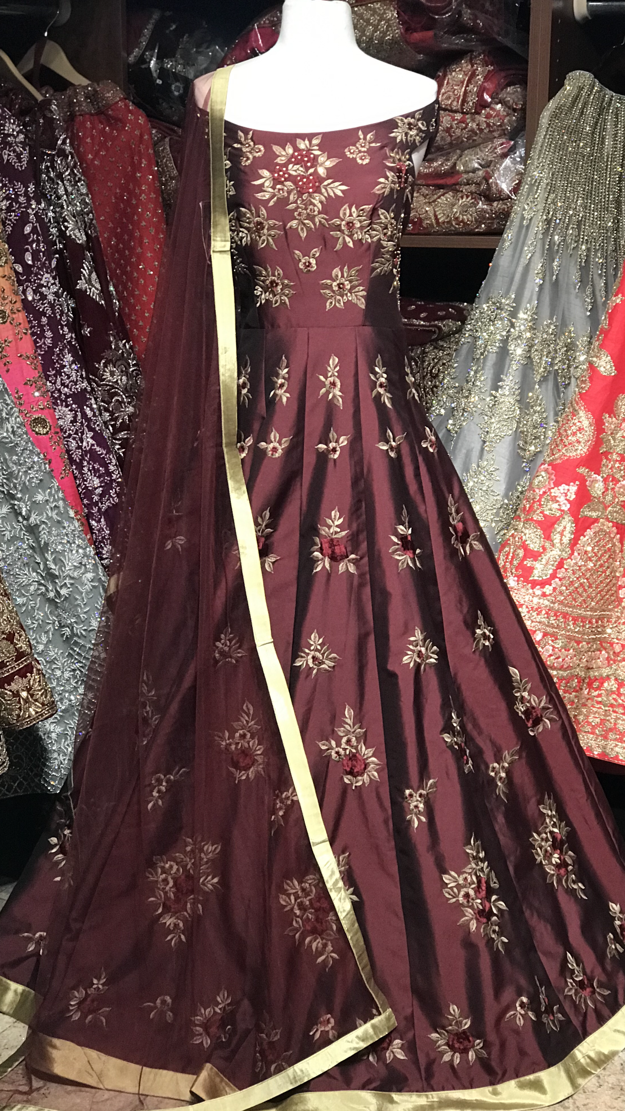 Burgundy Size 38 Off Shoulder Anarkali