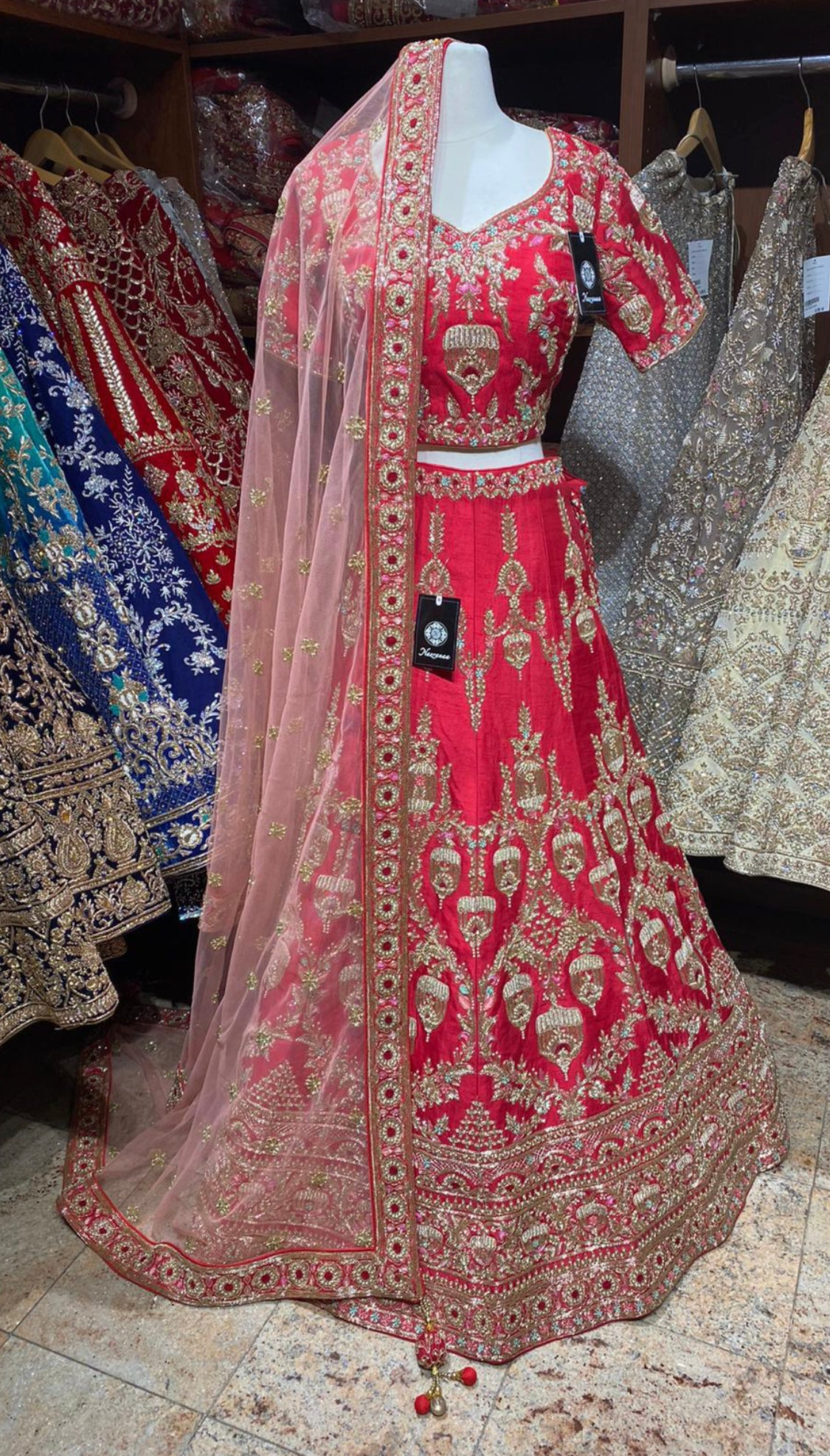Red Size 38 Bridal Lehenga