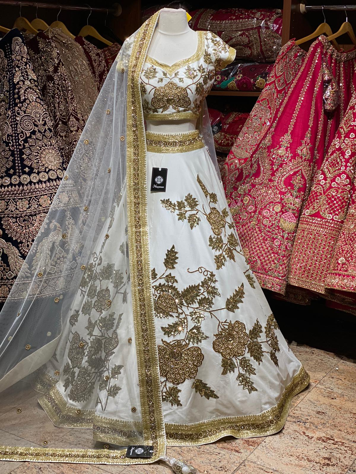 Dove White Bridal Wear Lehenga BWL-081