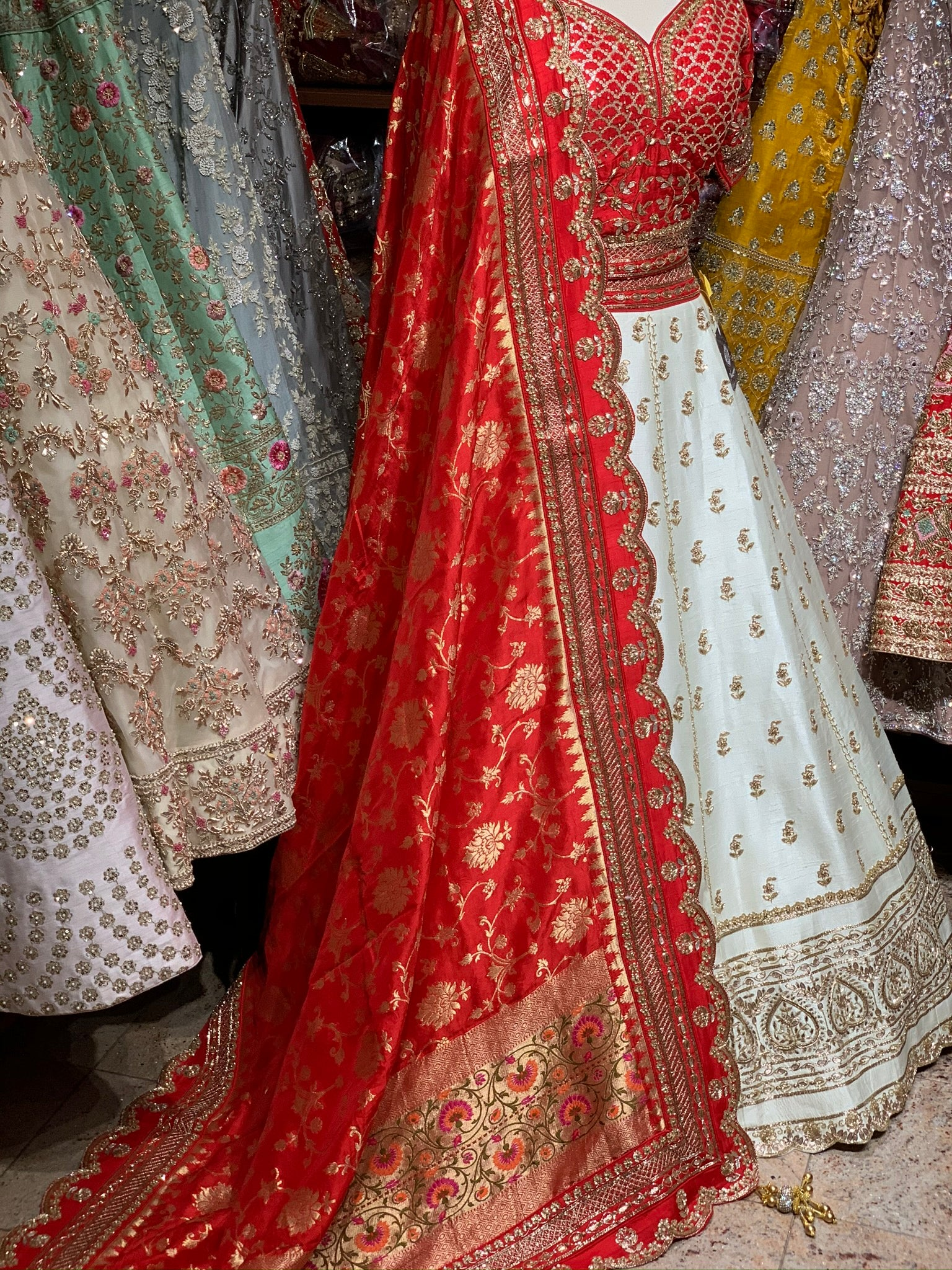 Cream & Red Size 40 Bridal Lehenga