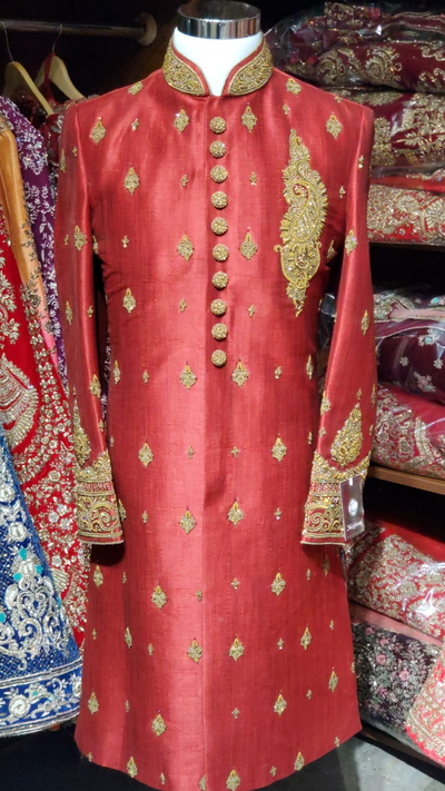 Red Gold Silk Sherwani