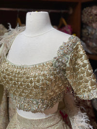 Golden Stone Size 38 Bridal Wear Lehenga