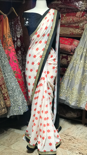 Printed Saree W/ Size 38 Readymade Blouse