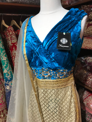 Blue Velvet Size 38 Embroidery Lacha