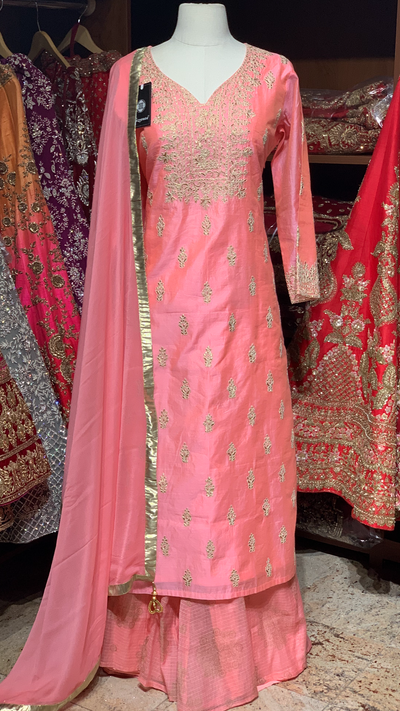 Pink Size 42 Cotton Silk Suit
