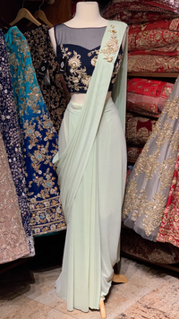 Mint Pre-Stitched Saree W/ Readymade Blouse