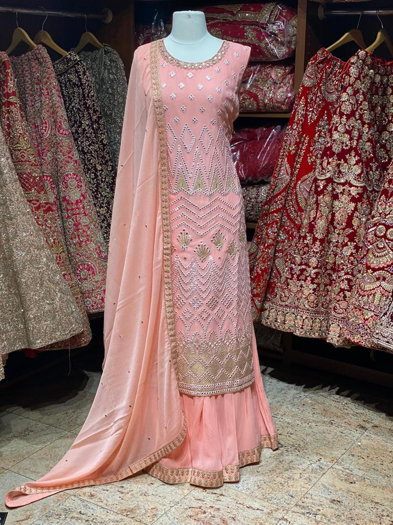 Salmon Pink Party Wear Suit Collection PWS-041