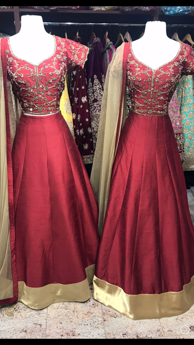 Maroon Raw Silk Bridesmaids Outfit