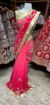 Ombre Red Saree PWS-057