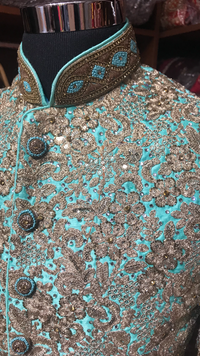 Mint Sequin Embroidery Sherwani