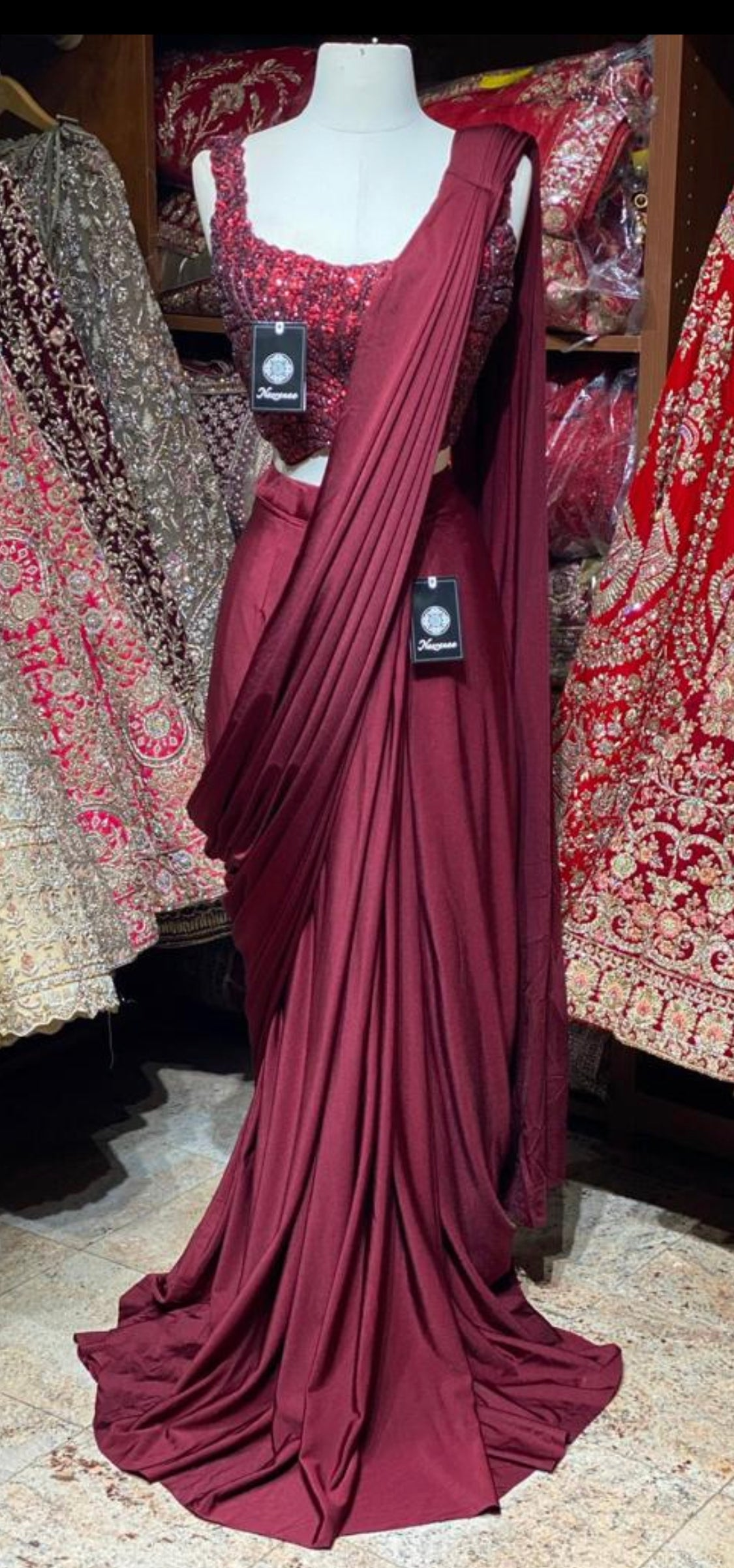 Wine Red Pre-Stitched Saree W/ Readymade Blouse PSS-21
