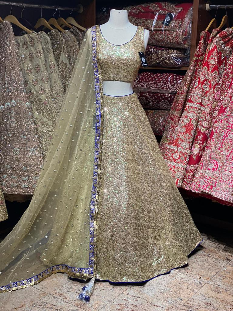Glamorous Gold Glitter Party Wear Lehenga PWL- 041