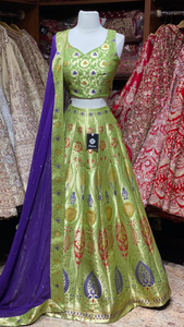 Fern Green Banarasi Lehenga Collection PWL-001