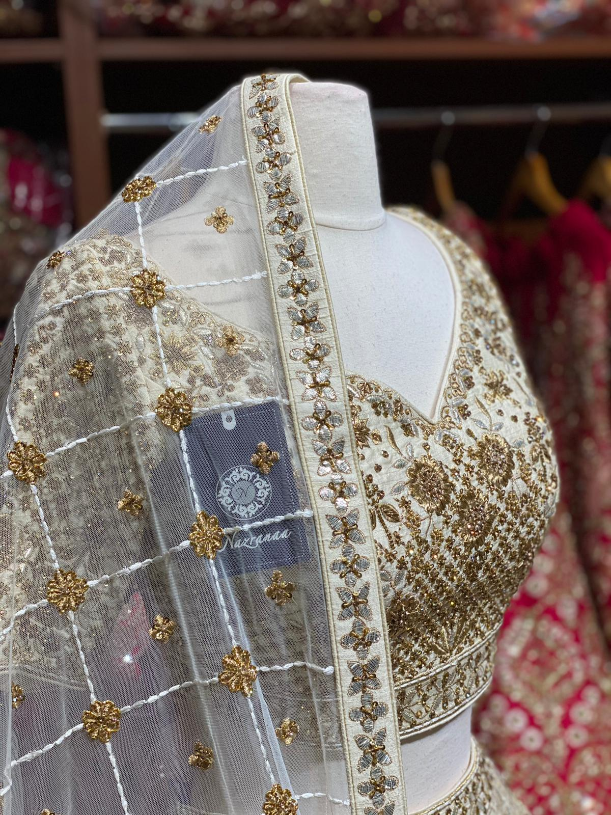 Ivory & Gold Bridal Wear Lehenga BWL-084